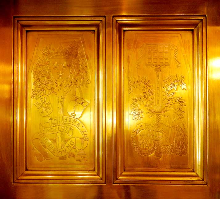 Close up of elevator doors