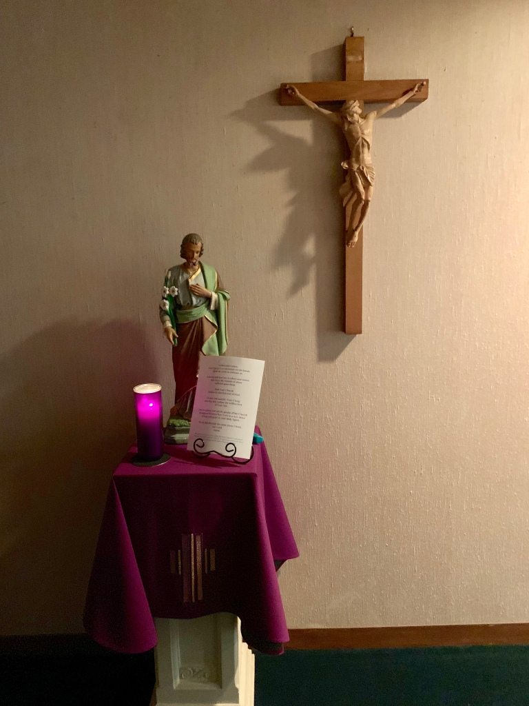 St. Joseph and candle in Chapel