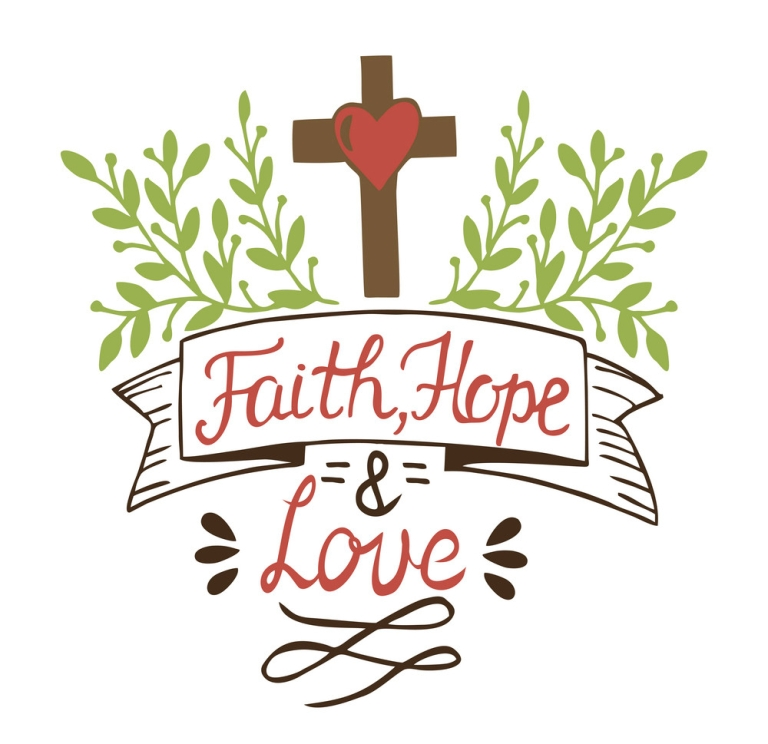 Coloring Hand lettering Faith, hope and love with cross and leaves.